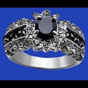 Black Beauty Silver tone Ring